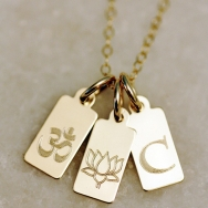 Om & Lotus Flower Mini Tag Necklace